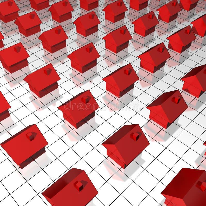 Houses on raster vector illustration