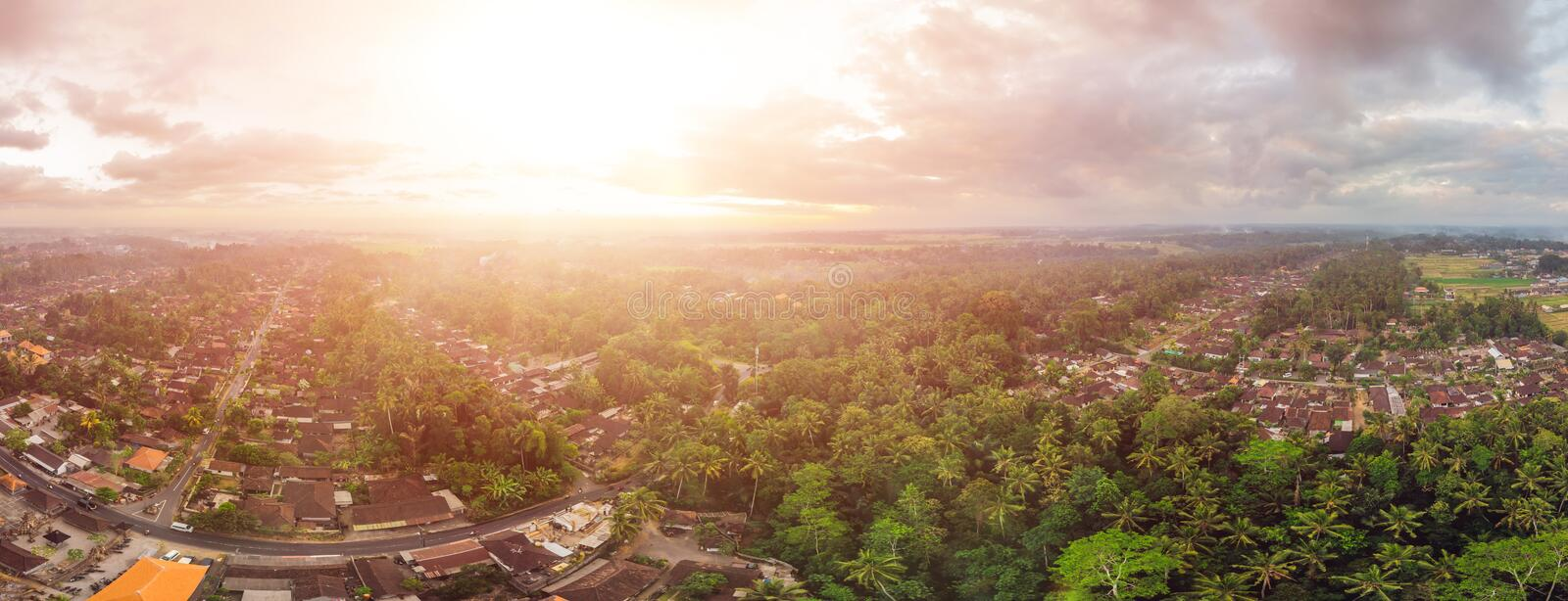 Houses and rice terraces seen from above with a drone in Ubud, Bali, Indonesia stock photo