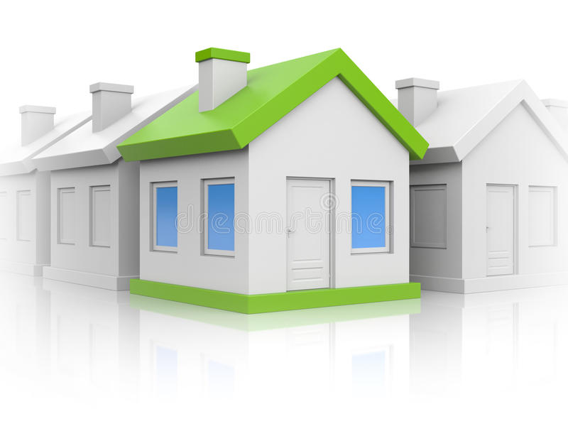 Houses. Right choice. Business concept. Separated on white stock illustration