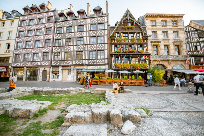 Houses in Rouen city, France royalty free stock photo