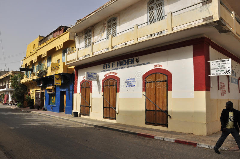 Houses in Saint Louis Senegal. Saint-Louis, or Ndar as it is called in Wolof, is the capital of Senegal's Saint-Louis Region. Located in the northwest of Senegal royalty free stock images