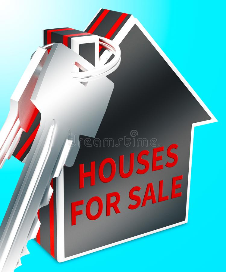 Houses For Sale Means Sell Property 3d Rendering. Houses For Sale Keys Means Sell Property 3d Rendering royalty free stock photography