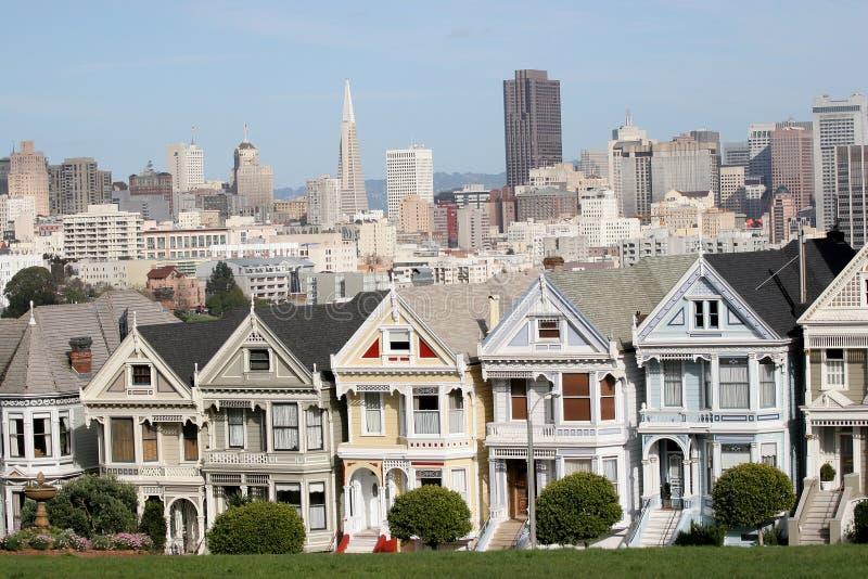 Houses, San Francisco, California, USA. San Francisco, California, USA, victorian Houses of haigh Ashbury, in sunny royalty free stock photo