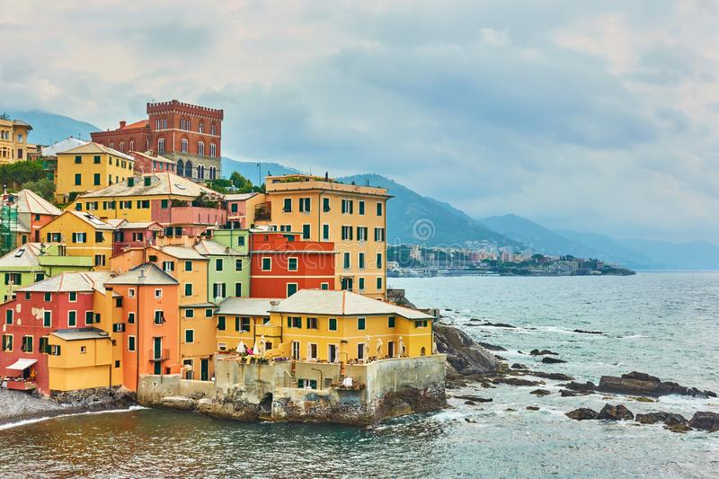 Houses by the sea in Boccadasse in Genoa royalty free stock photography
