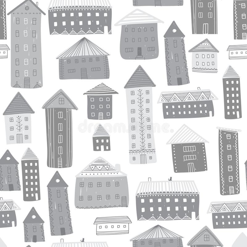 Houses seamless pattern royalty free illustration