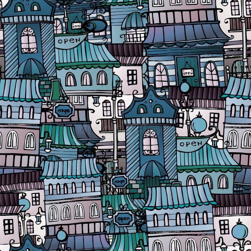 Houses seamless pattern vector illustration