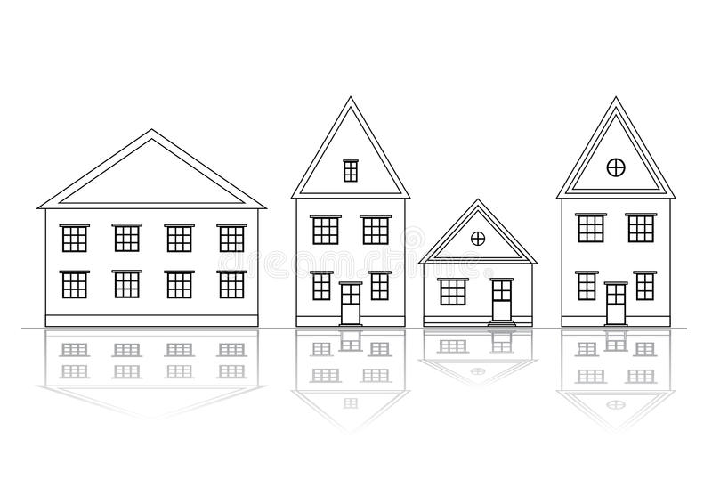 Download Houses set. Outlined view. stock vector. Illustration of outline - 16240192