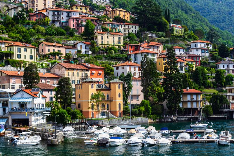 Houses on the shores of Lake Como, Italy. Beautiful view of colorful houses on the shores of Lake Como, Italy. Close-up, bellagio, lago, lombardia, alpine, alps stock image