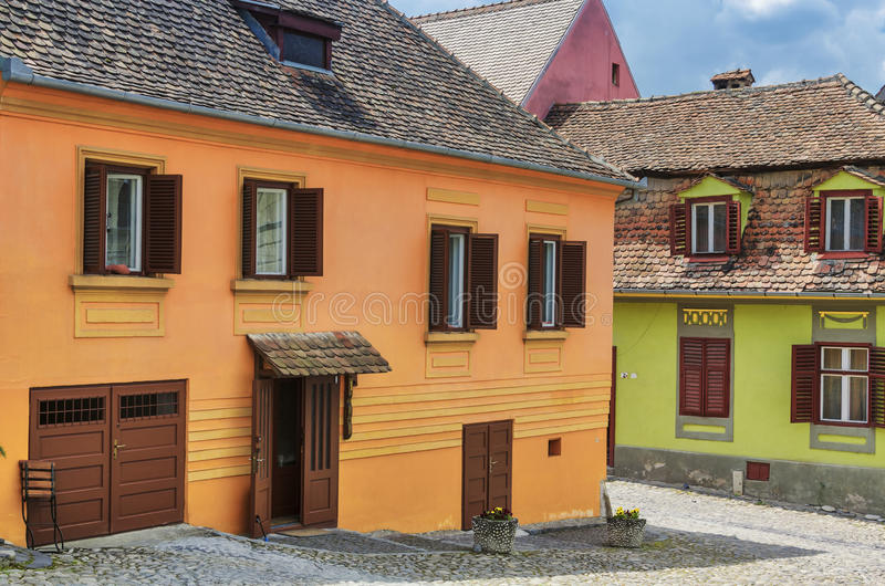 Houses in Sighisoara city, Romania stock image