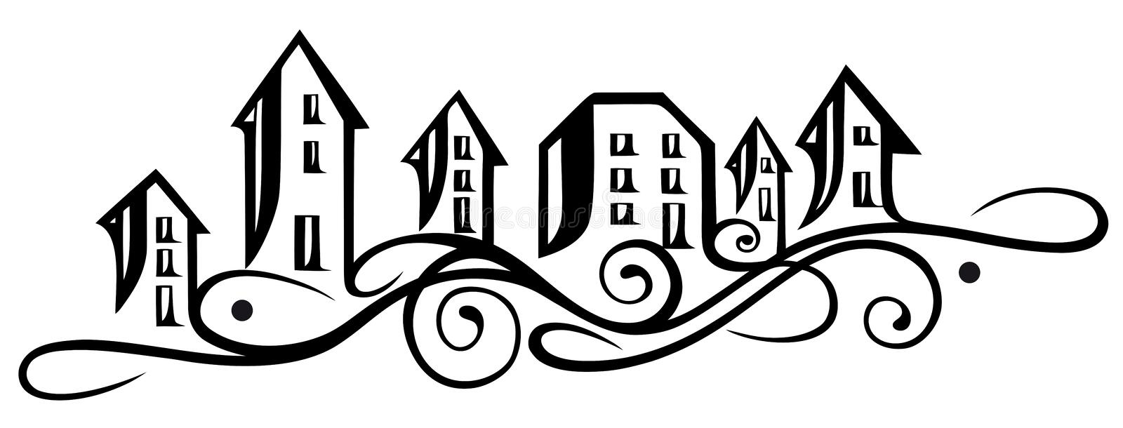 Houses silhouette royalty free illustration