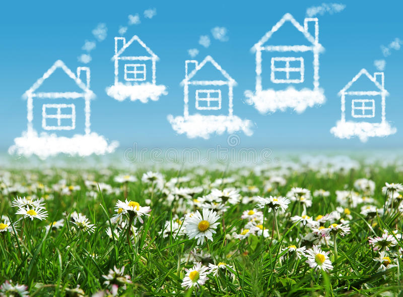 Download Houses in the  sky stock image. Image of estate, family - 23111491