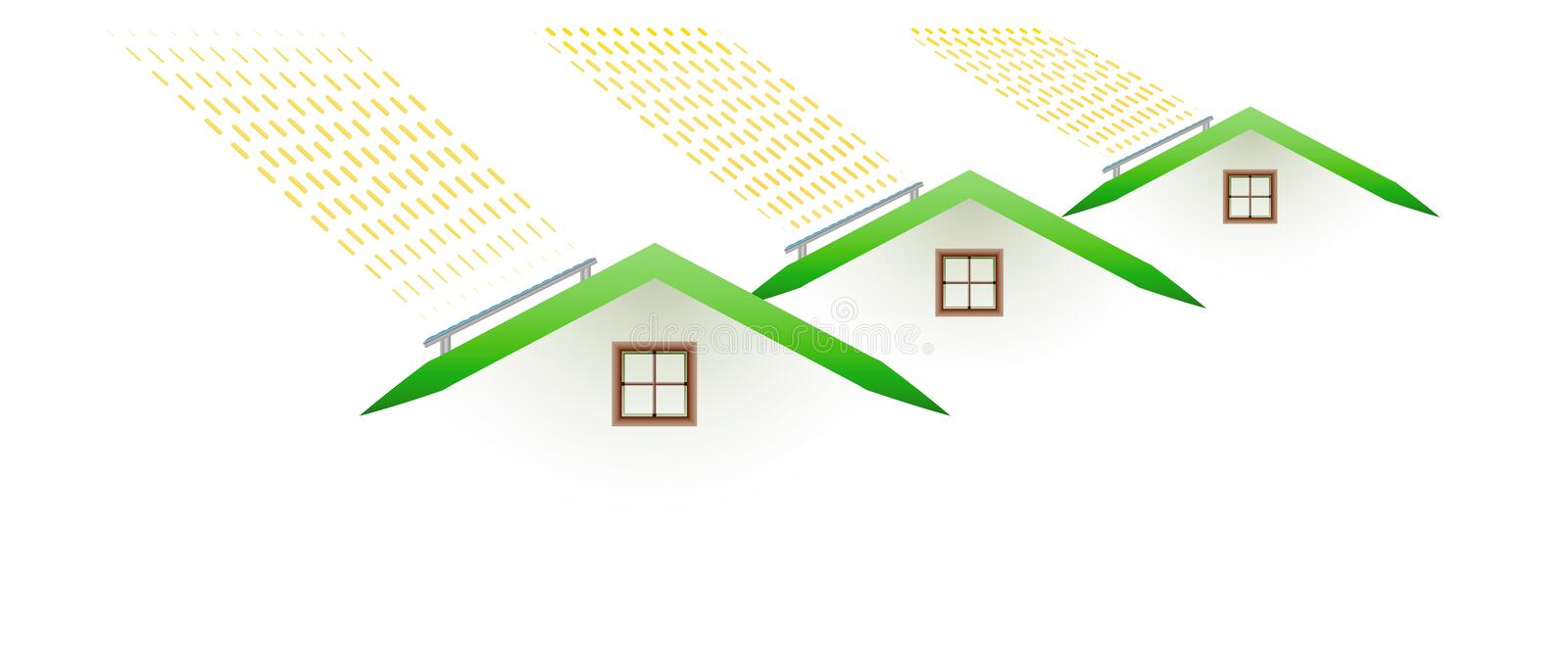 Houses and smoking roofs. Pollution - houses and smoking roofs on white background vector illustration