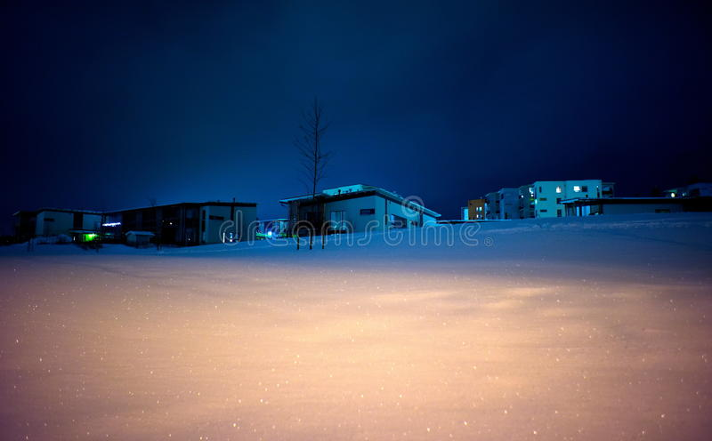 Download Houses On Snowy Hill At Night Stock Image - Image: 21168267