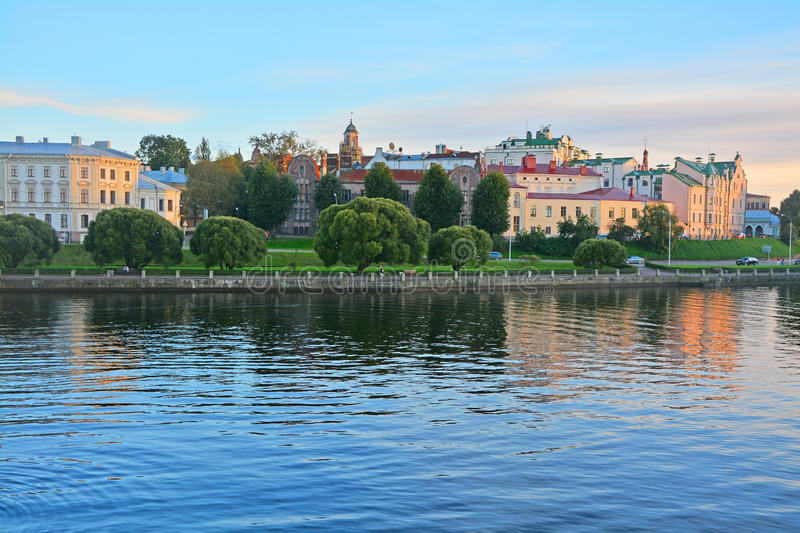 Houses at Southern harbor in Vyborg, Russia royalty free stock images