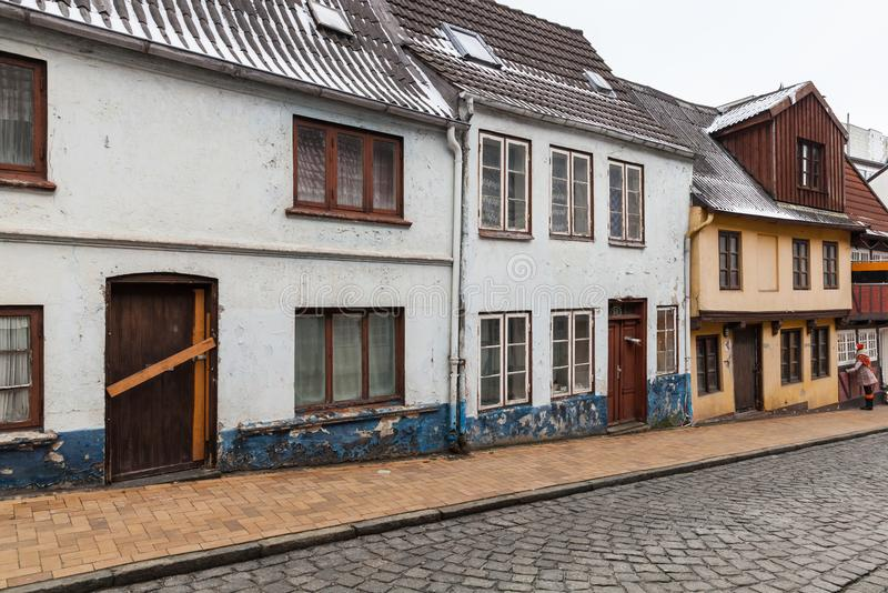 Houses stand in a row in Flensburg, Germany. Traditional colorful living houses stand in a row in Flensburg, Germany royalty free stock photography