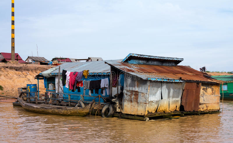 Houses on stilts on Lake Tonle Sap Cambodia