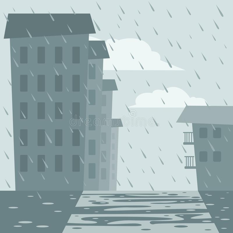 Houses and street in the rain vector illustration