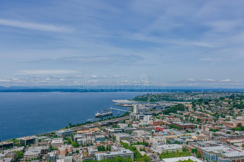 Houses and streets by Elliot Bay in Seattle, USA stock image