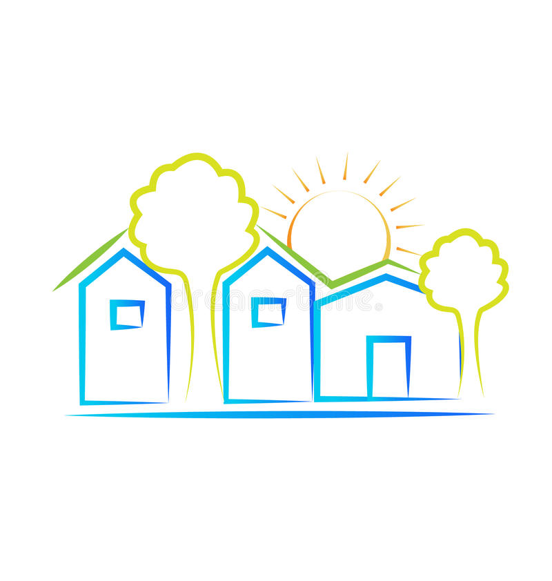 Houses sun and trees logo vector illustration