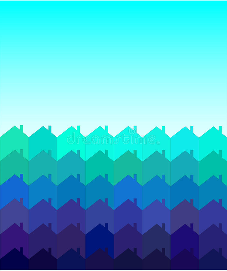 Houses tessellation. An illustration of rows of houses with space for text. Shades of blue and green. Tessellation style. Also available in vector format