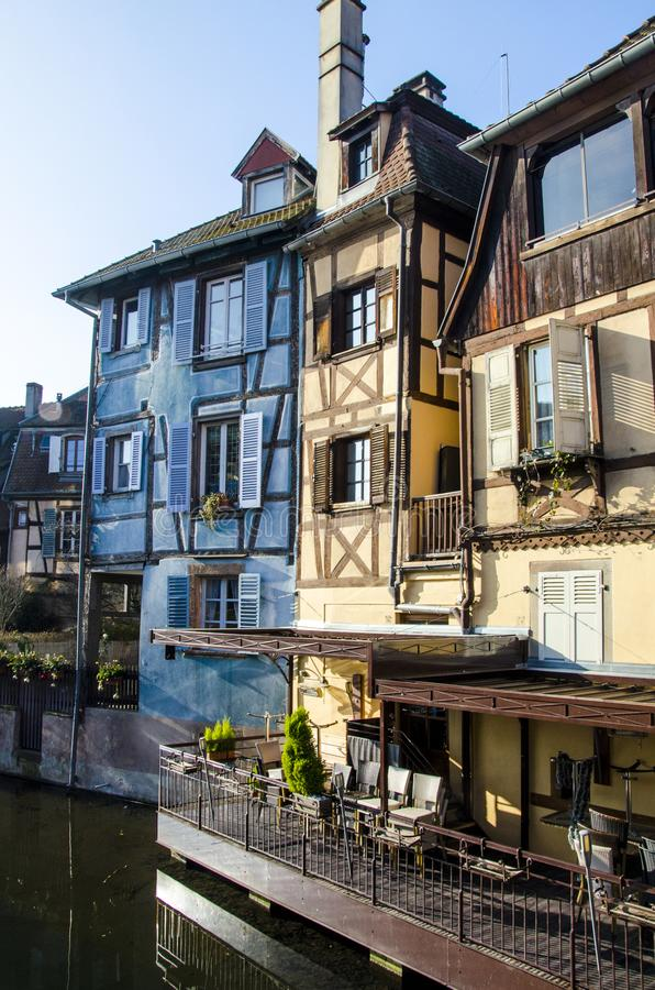 Houses and their exteriors in romantic Colmar in France during winter time royalty free stock photo