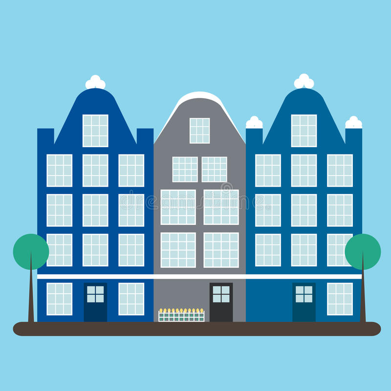 Houses. Three cute amsterdam houses. houses icons. Amsterdam buildings on background. Outdoor landmark. Houses exterior. Houses with trees. Flat style vector vector illustration