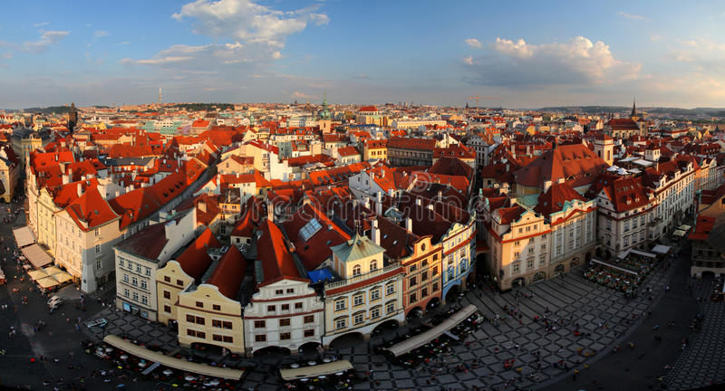 Houses with traditional red roofs in Prague Old Town Square in t royalty free stock photography
