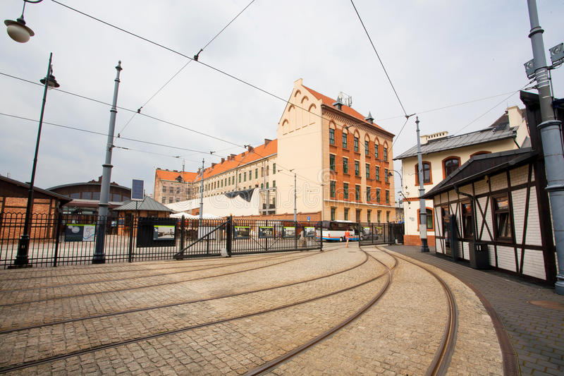 Houses and tram tracks in the old street stock photo