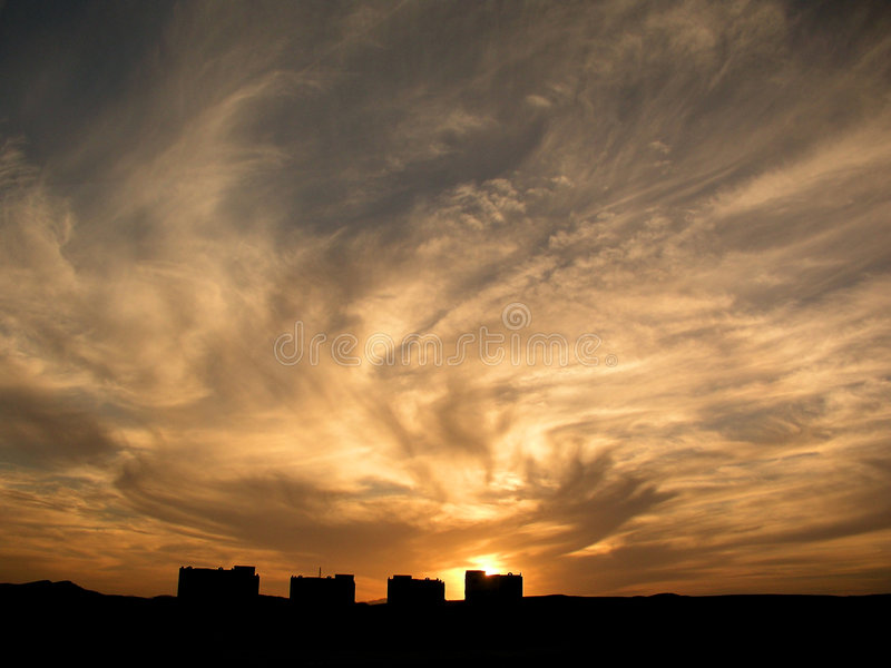 Houses under dramatic sky stock photos