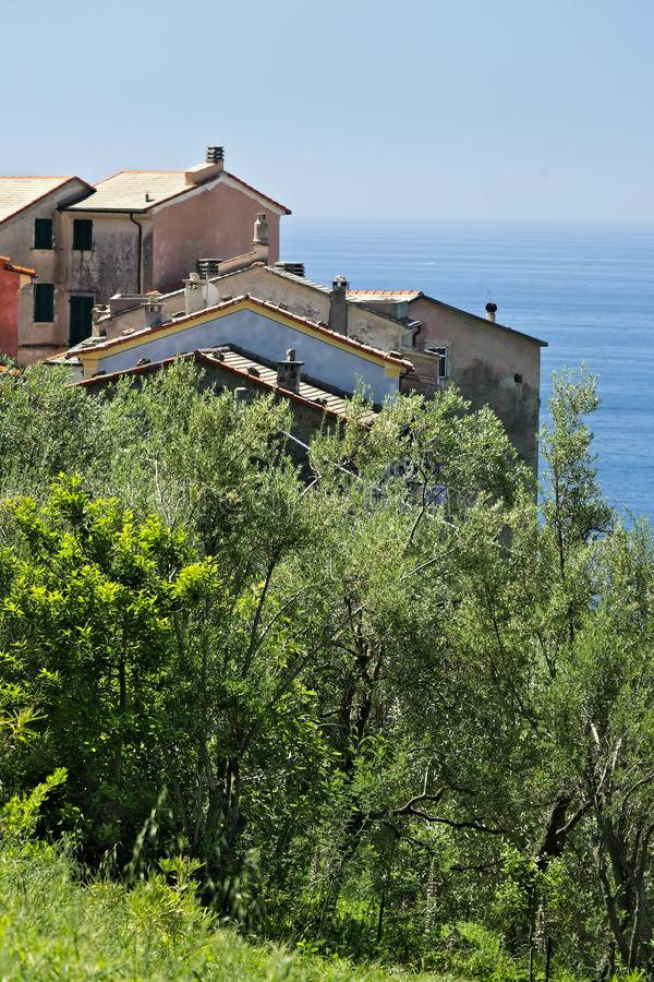 Houses in the village of Framura, near the Cinque Terre stock photos