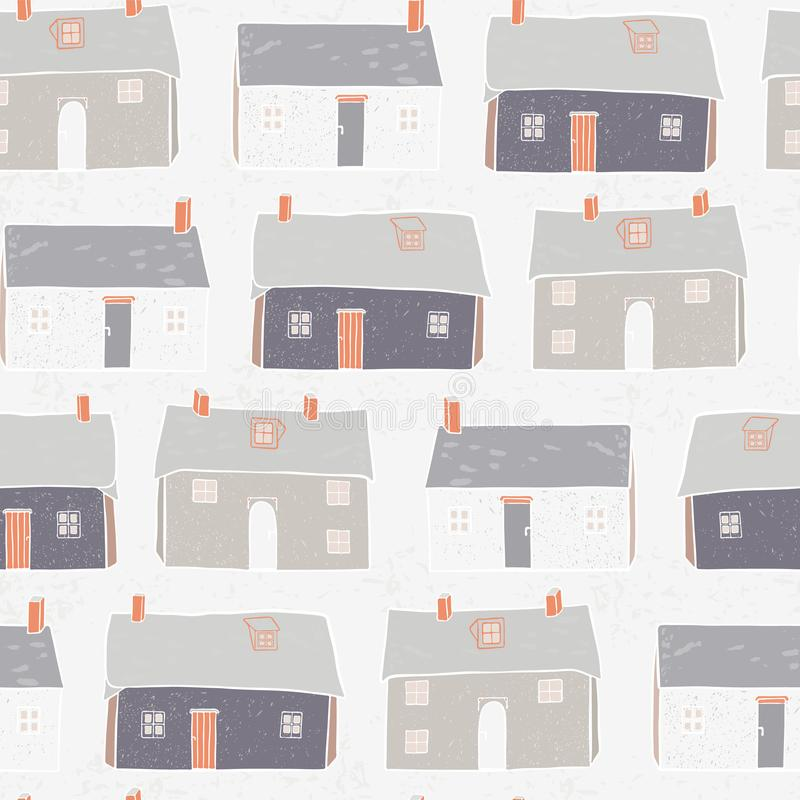 Houses Village Vector xmas Repeat Grey Background. Houses Village Vector Pattern Repeat Seamless Background, Hand Drawn Neighborhood Cottages Illustration for royalty free illustration