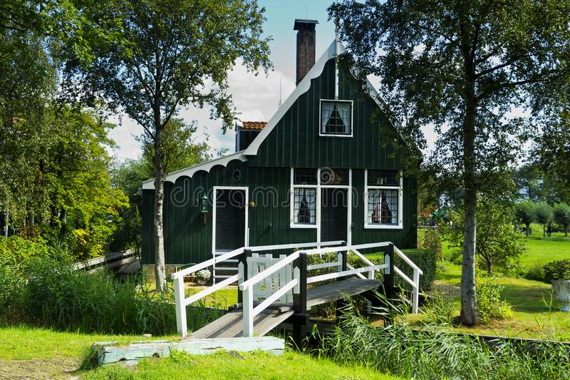 Houses of Zaanse Schans in the Windmillpark in Zaandem, Holland, the Netherlands. royalty free stock photos