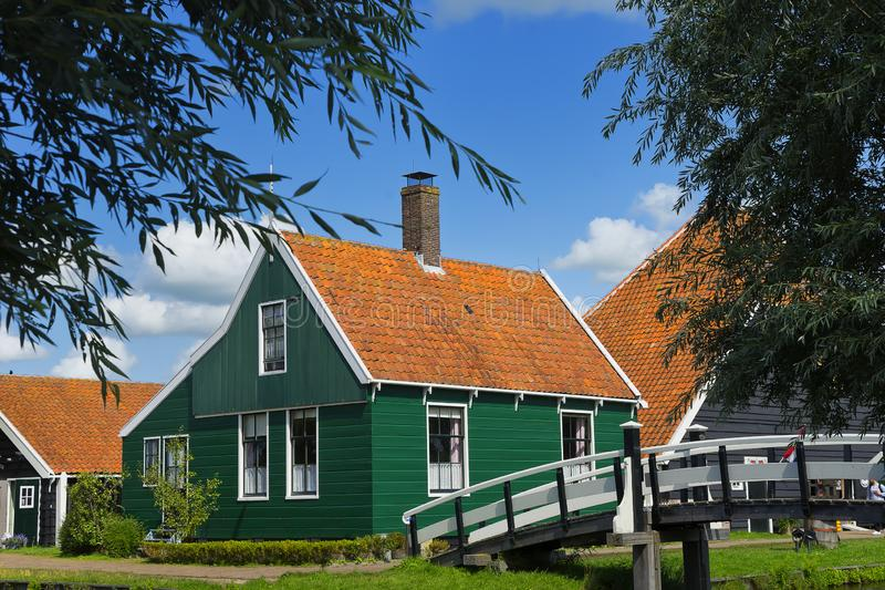 Houses of Zaanse Schans in the Windmillpark in Zaandem, Holland, the Netherlands. royalty free stock photo