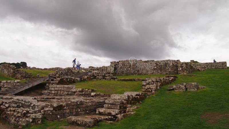 Housesteads Roman Fort em Northumberland, Inglaterra do norte imagem de stock