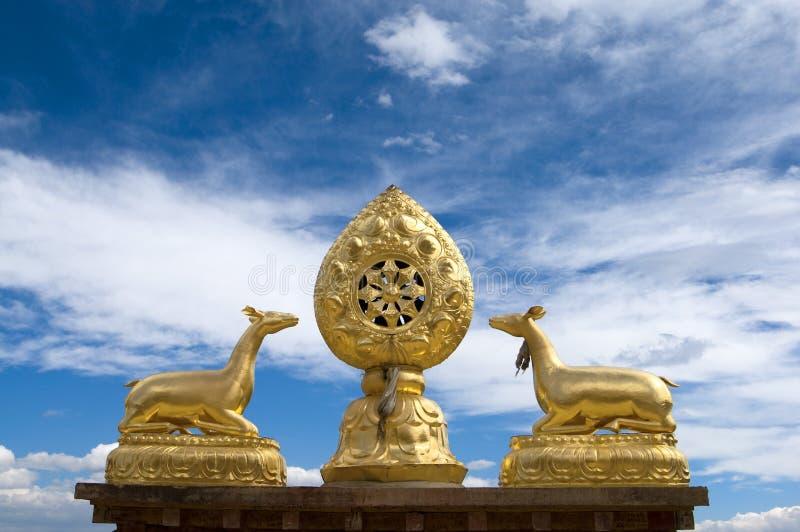 Housetop do templo de Tibet imagem de stock royalty free
