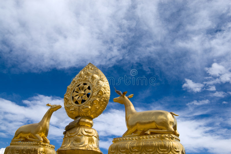Housetop of Tibet Temple. Then housetop of tibet temple in China stock image