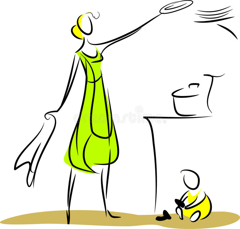 Housewife. Dishes and baby in the kitchen vector illustration
