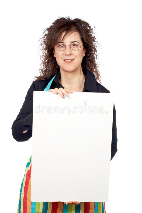 Download Housewife In Apron Holding The Blank Poster Stock Image - Image: 1785321
