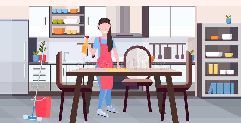 Housewife in apron wiping dinning table by dust cloth girl doing housework cleaning service housekeeping concept full stock illustration