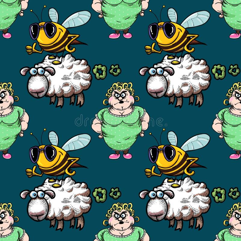 Housewife, bee and sheep seamless pattern stock illustration