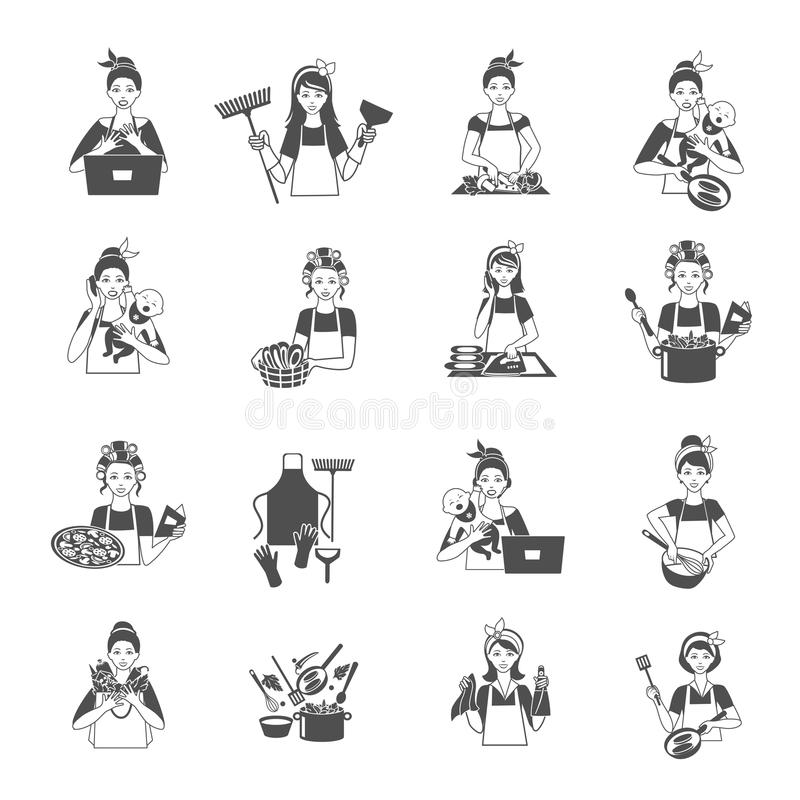 Housewife Black Set. Housewife woman domestic life black icons set isolated vector illustration royalty free illustration