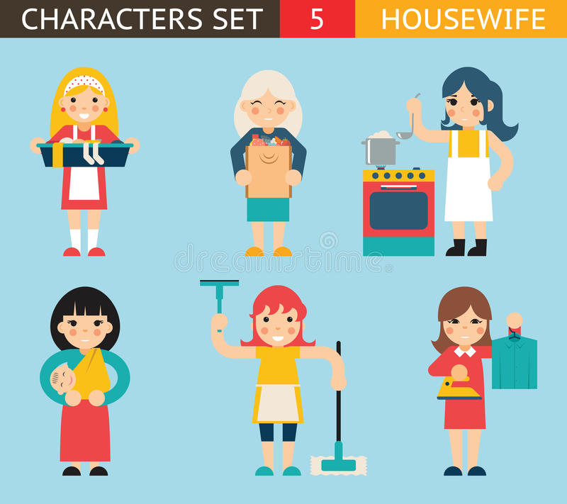 Housewife Characters Icon Set Symbol with. Housewife Characters Icon Set Symbol Accessories on Stylish Background Flat Design Concept Template Vector royalty free illustration