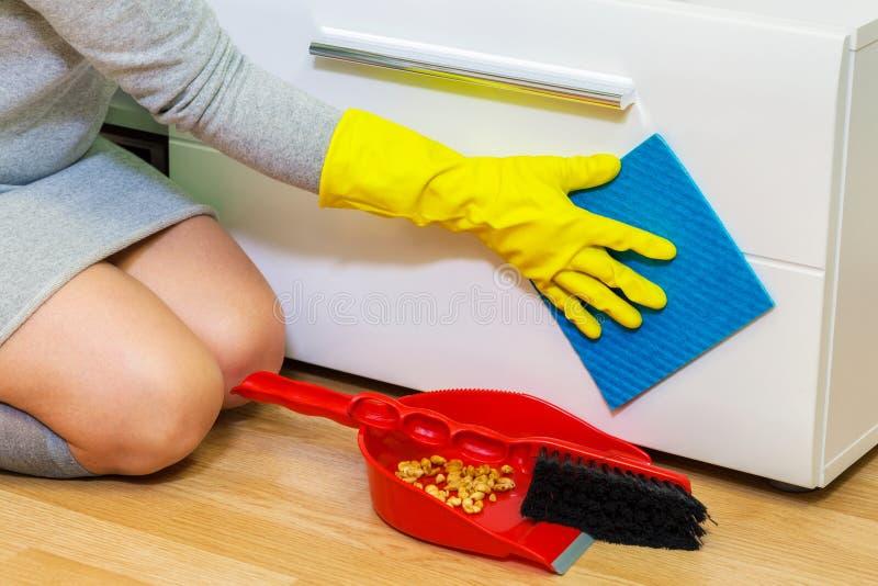 Housewife clean furniture door stock images