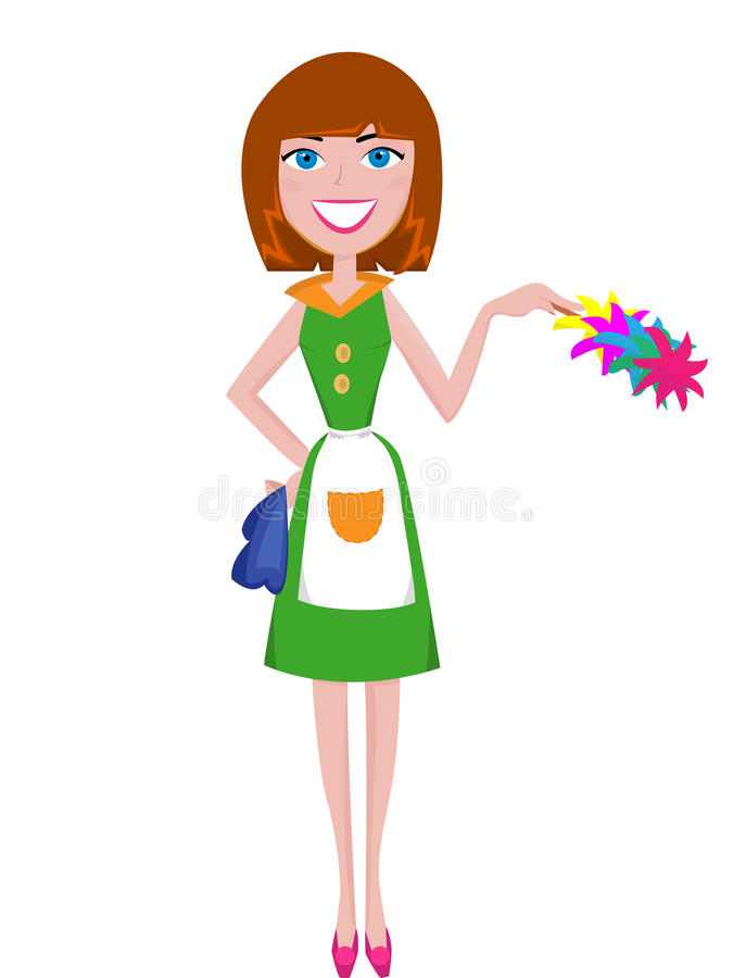 Housewife cleaning vector illustration