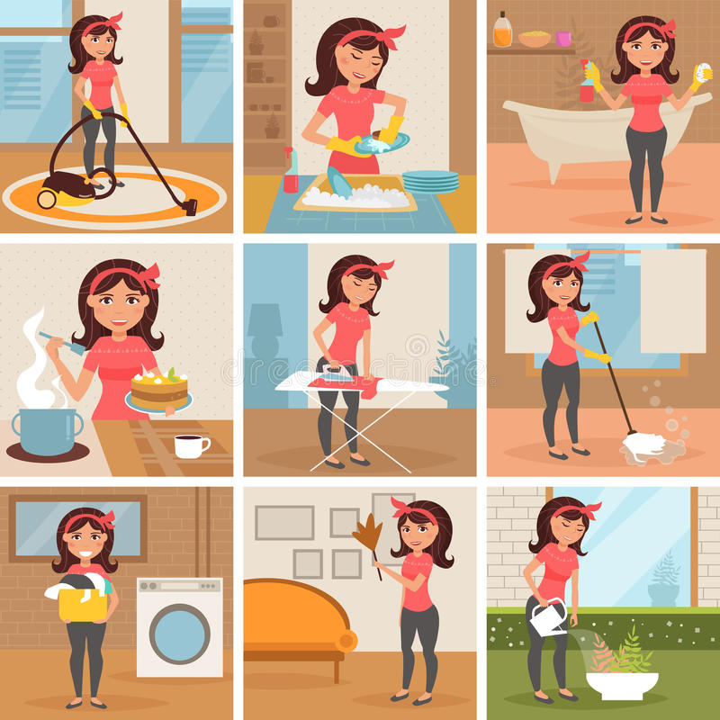 Housewife. Cleaning, cooking, washing, stock illustration