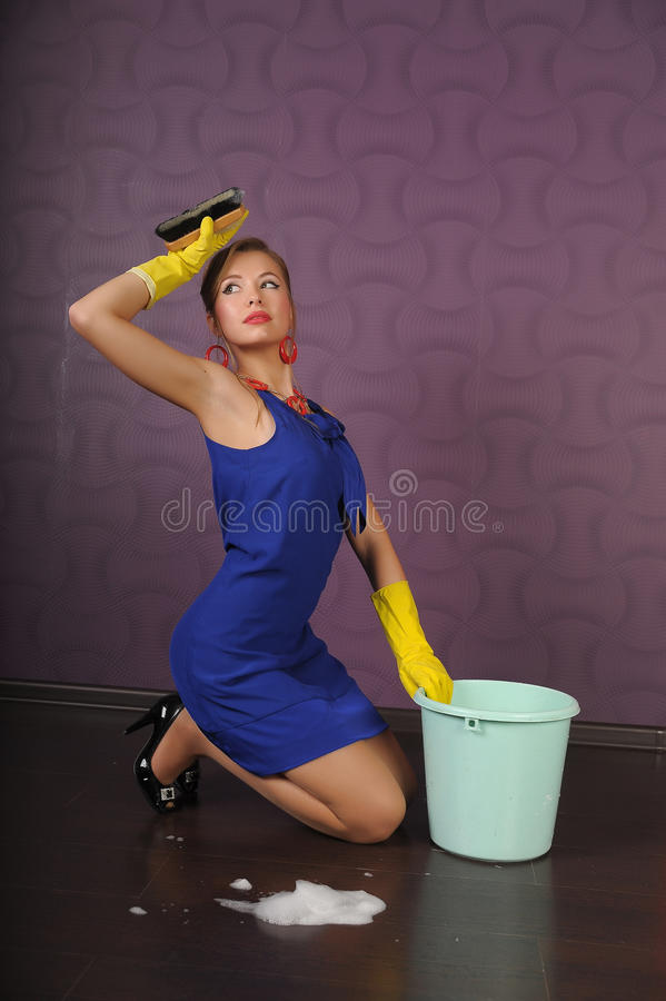 Download Housewife Is Cleaning The Floor Stock Photo - Image: 17862764