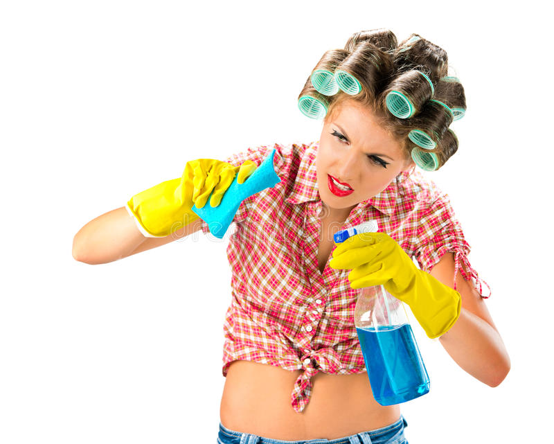 Housewife with cleaning product. White background royalty free stock photography