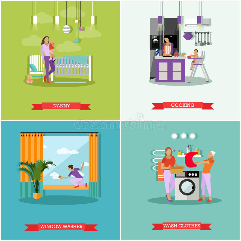 Housewife concept vector posters. Housekeeper woman taking care baby, cleaning, cooking and washing. Wife work at home vector illustration