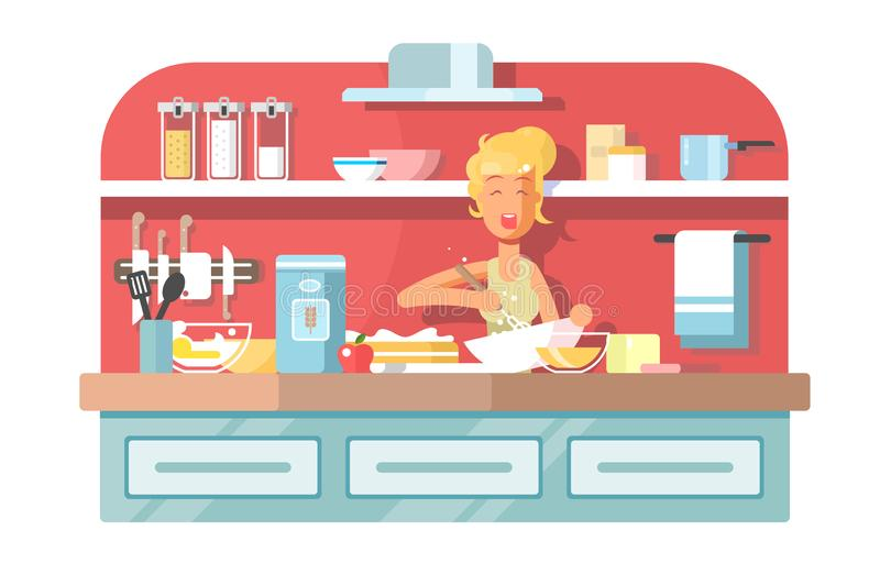 Housewife cooking food on kitchen. vector illustration