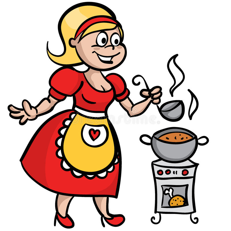 Download Housewife cooking soup stock vector. Image of kitchen - 31423351